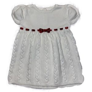 White Sweater Dress with Red Ribbon